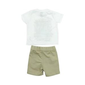 Conjunto Masculino Infantil / Baby Camiseta + Bermuda Em Malha Pa Sarja Com Lycra - Um Mais Um Caqui