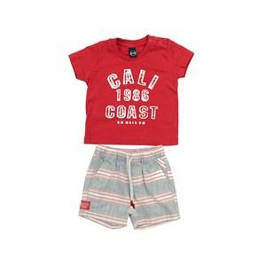 Conjunto Masculino Infantil / Baby Camiseta + Bermuda Em Malha Penteada E Flame Listrad - Um Mais Um Azul
