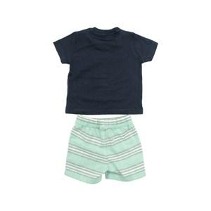 Conjunto Masculino Infantil / Baby Camiseta + Bermuda Em Malha Penteada E Flame Listrad - Um Mais Um Verde Agua