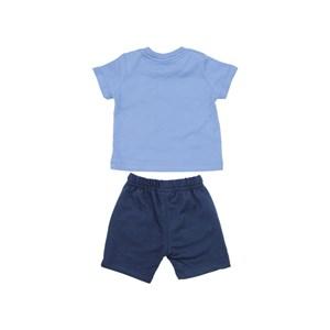 Conjunto Masculino Infantil / Baby Camiseta + Bermuda Em Malha Penteada E Moletinho  - Um Mais Um Marinho