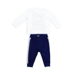 Conjunto Masculino Infantil / Baby Camiseta + Calça Em  Malha Pa E Moletinho Viscose - Um Mais Um Marinho