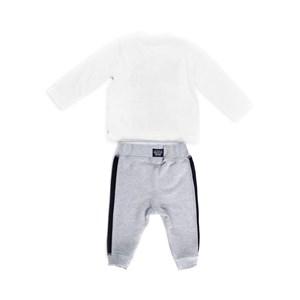 Conjunto Masculino Infantil / Baby Camiseta + Calça Em  Malha Pa E Moletinho Viscose - Um Mais Um Mescla Claro