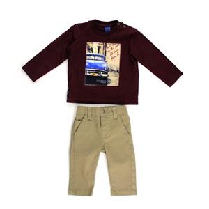 Conjunto Masculino Infantil / Baby Camiseta + Calça Em Malha Stone E Sarja Com Lycra - Um Mais Um Caqui