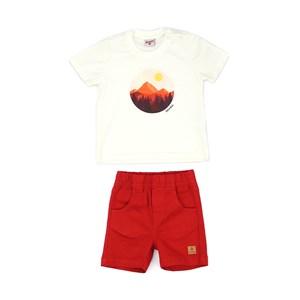 Conjunto Masculino Infantil / Baby Camiseta Em Meia Malha Penteada Com Estampa Frontal  + Bermuda Em