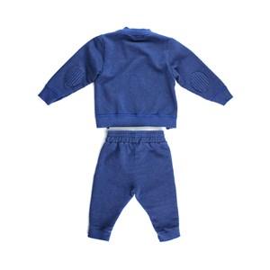 Conjunto Masculino Infantil / Baby Moletom + Calça Em Malha Vintage E Moletom S Felpa - Um Mais Um Azul Jeans