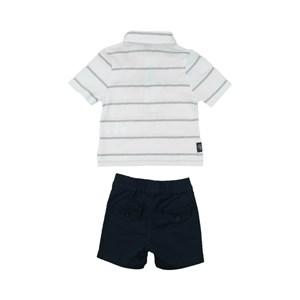 Conjunto Masculino Infantil / Baby Polo + Bermuda Em Malha Com Listra Pontilhada E Sarja -Um Mais Um Marinho