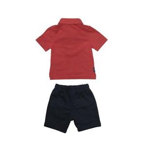 Conjunto Masculino Infantil / Baby Polo + Bermuda Em Malha Com Listras E Moletom  - Um Mais Um Marinho