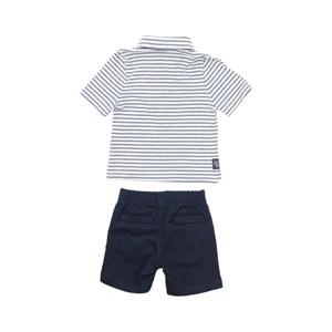 Conjunto Masculino Infantil / Baby Polo + Bermuda Em Malha Flame E Sarja Com Lycra - Um Mais Um Marinho