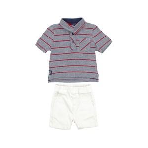 Conjunto Masculino Infantil / Baby Polo + Bermuda Em Malha Penteada Com E Sarja - Um  Mais Um Cru