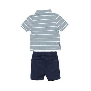 Conjunto Masculino Infantil / Baby Polo + Bermuda Em Malha Penteada Com E Sarja - Um  Mais Um Marinho
