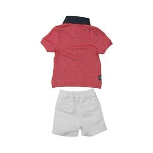 Conjunto Masculino Infantil / Baby Polo + Bermuda Em Malha Penteada E Sarja Com Lycra - Um Mais Um Branco