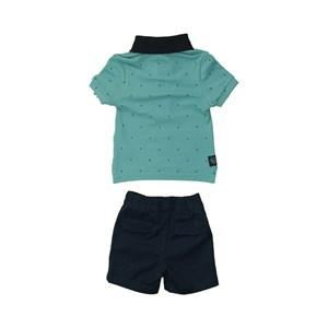 Conjunto Masculino Infantil / Baby Polo + Bermuda Em Malha Penteada E Sarja Com Lycra - Um Mais Um Marinho