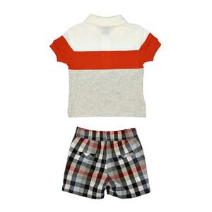 Conjunto Masculino Infantil / Baby Polo Em Meia Malha Com Recortes  E Patch De Cachorrinho + Bermuda Laranja Escuro