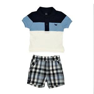 Conjunto Masculino Infantil / Baby Polo Em Meia Malha Com Recortes  E Patch De Cachorrinho + Bermuda Marinho