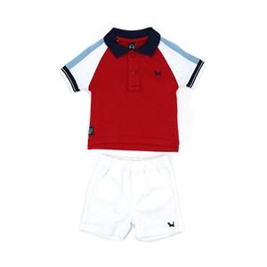 Conjunto Masculino Infantil / Baby Polo Em Meia Malha Penteada  Com Patch De Cachorrinho +. Bermuda Branco