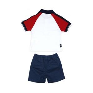 Conjunto Masculino Infantil / Baby Polo Em Meia Malha Penteada  Com Patch De Cachorrinho +. Bermuda Marinho