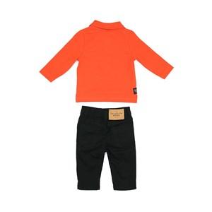 Conjunto Masculino Infantil / Baby Polo Em Piquet Com Patch De Cachorrinho + Calça Em Sarja Com Lycr Preto