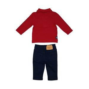 Conjunto Masculino Infantil / Baby Polo Em Piquet Com Patch De Cachorrinho + Calça Em Sarja Com Lycr Marinho