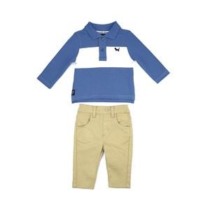 Conjunto Masculino Infantil / Baby Polo Em Piquet Com Patch De Cachorrinho + Calça Em Sarja Com Lycr Caqui