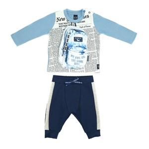 Conjunto Masculino Infantil / Baby T-Shirt  Em Malha Com Estampa Frontal + Calça Em Moletinho Viscos