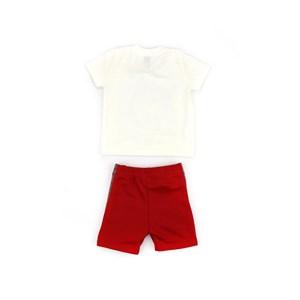 Conjunto Masculino Infantil / Baby T-Shirt Em Meia Malha Com Estampa Frontal + Bermuda Em Moletom Se