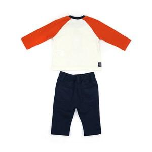 Conjunto Masculino Infantil / Baby T-Shirt Em Meia Malha Penteada Com Estampa Frontal + Calça Em Mol
