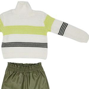 Conjunto Masculino Infantil / Kids Blusa  Em Tricot + Calça Em Couro Sintetico - Beaba Verde