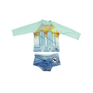 Conjunto Masculino Infantil / Kids Blusa-Surfista + Sunga Em Lycra Suplex De Poliamida - Um Mais Um Azul Claro