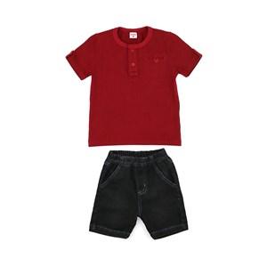 Conjunto Masculino Infantil / Kids Camiseta Em Cotton Com Listras + Calça  Em Jeans Maquinetado - Be