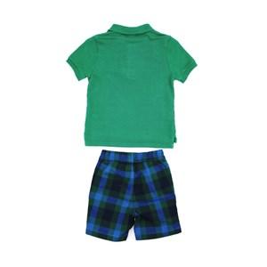 Conjunto Masculino Infantil / Kids Polo Em Piquet Com Patch De Passarinho + Bermuda Em Xadrez - Beab Verde