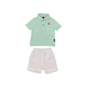 Conjunto Polo Colorida + Bermuda Elástico Verde