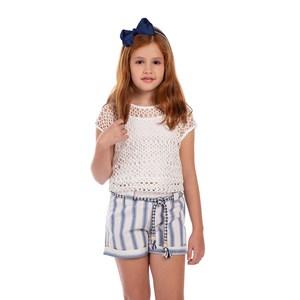 Conjunto Regata Com Blusa De Tela + Short Listrado Com Cinto De Cordão Azul