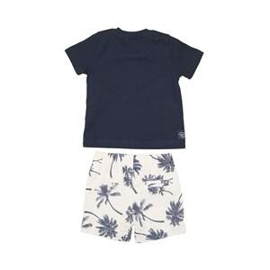 Conjunto T-Shirt + Bermuda Estampada Marinho