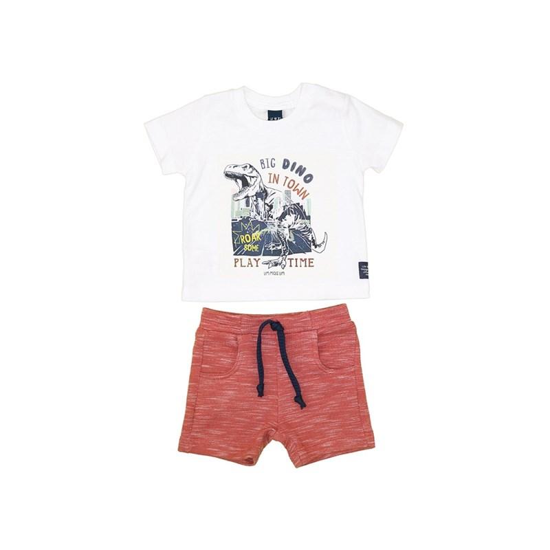 Conjunto T-Shirt Dinossauro + Bermuda Moletom Laranja Escuro