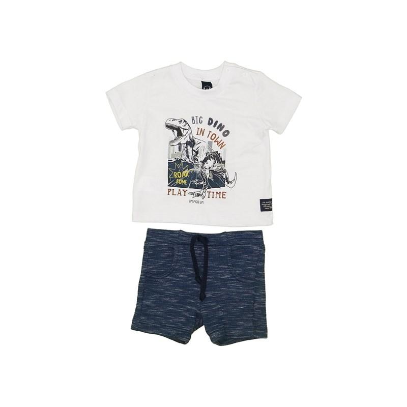 Conjunto T-Shirt Dinossauro + Bermuda Moletom Marinho