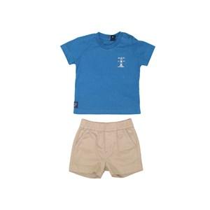 Conjunto T-Shirt Estampa Traseira + Bermuda Elástico Caqui