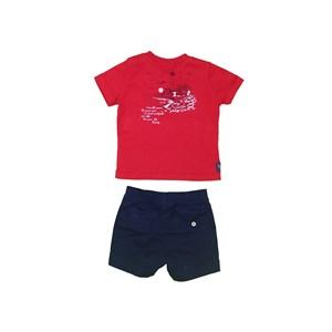 Conjunto T-Shirt Estampa Traseira + Bermuda Elástico Marinho