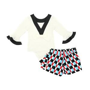 Conjutno Feminino Infantil / Kids Body Em Cotton Alquimia +  Short -Saia Em Alfaiataria Diagonal Com