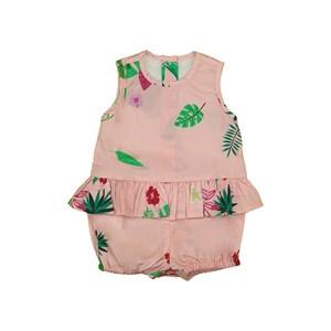 Fofinho feminino baby com babadinho na cintura estampa folhagem Rosa Claro
