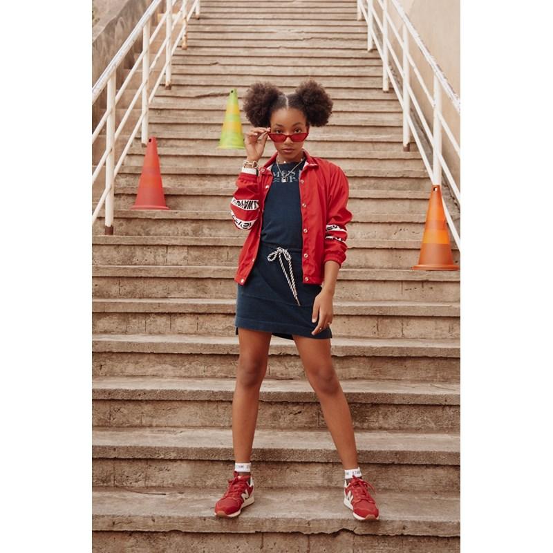 Jaqueta bomber feminina teen em nylon com botoes niquelado Vermelho