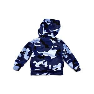 Jaqueta De Moletom Camuflado Infantil Masculina Modelo Maga Longa Com Capuz - 1+1 Azul Jeans