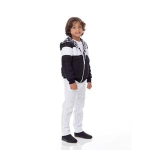 Jaqueta Dupla Face Infantil / Kids Em Nylon Chillan Com Patch De Cahorrinho E Nylon Estampado No Ave Preto
