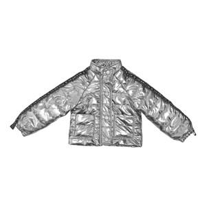 Jaqueta feminina em matelasse com bolsos frontais detalhe de cadarço PRATA