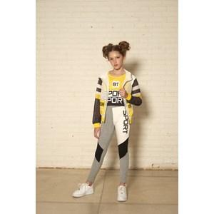 Jaqueta infantil feminina com recortes em tela CRU