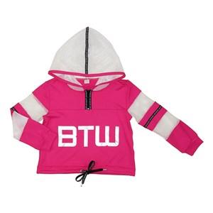 Jaqueta infantil feminina com recortes em tela e detalhes em cadarço PINK