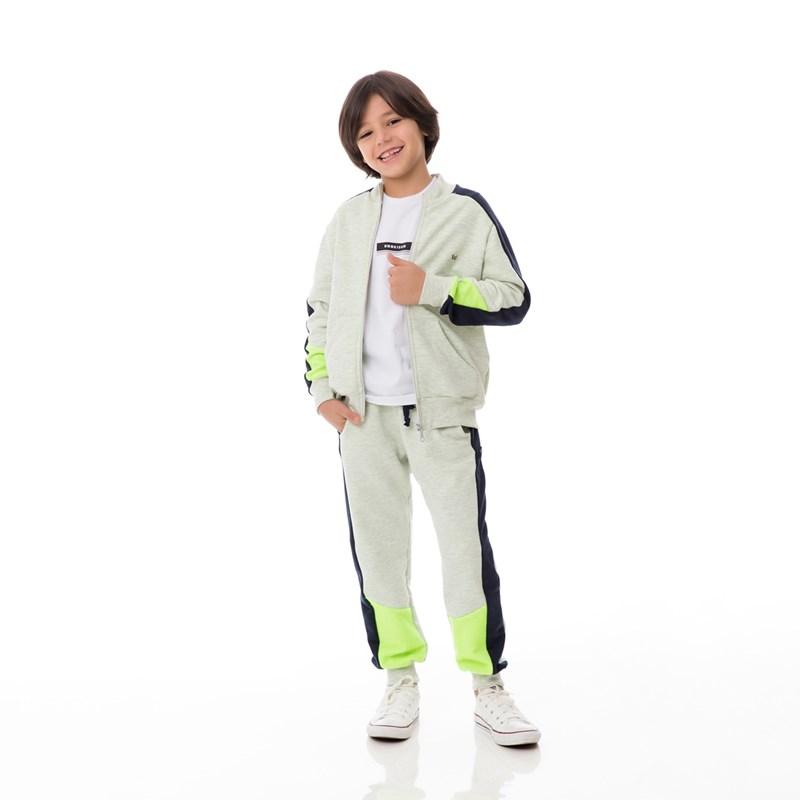Jaqueta Infantil/Kids Masculino Em Moletom Sem Felpa - Um Mais Um Verde Fluor