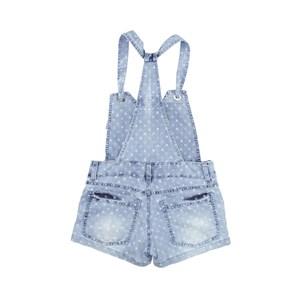 Jardineira Feminina Infantil / Teen Em Jeans Maquinetado - Twoin Única