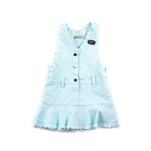 Jardineira Infantil Feminina Com Barra Desfiada - 1+1 Azul Claro