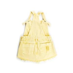 Jardineira Infantil Feminina Em Sarja Com Barra Desfiada - Twoin Amarelo Claro