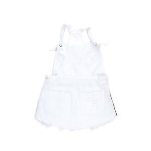 Jardineira Infantil Feminina Em Sarja Com Barra Desfiada - Twoin Branco